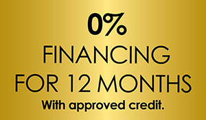 0% financing for 12 months with approved credit!