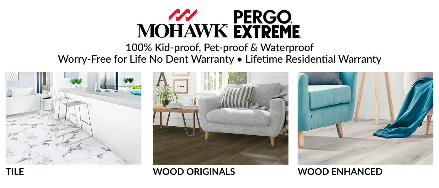 50% OFF Mohawk Pergo Extreme waterproof LVT this month at Ted's Abbey Carpet & Floor!