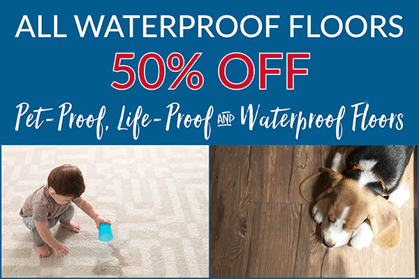 Save 50% on all waterproof flooring at Ted's Abbey Carpet in Anniston!