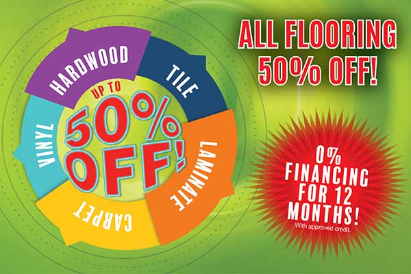 All flooring is 50% off! Save big at Ted's Abbey Carpet & Floor